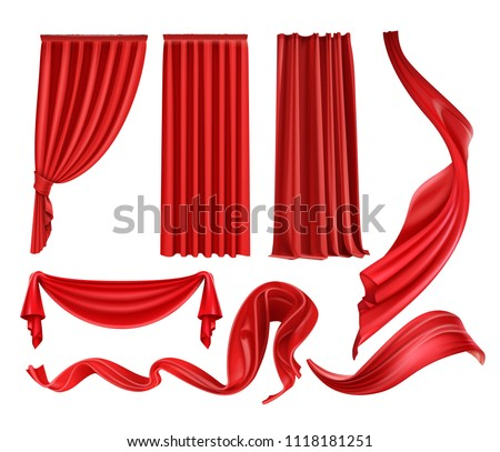 Curtain red curtains stage theater velvet silk fabric cloth realistic vector illustration isolated on white background