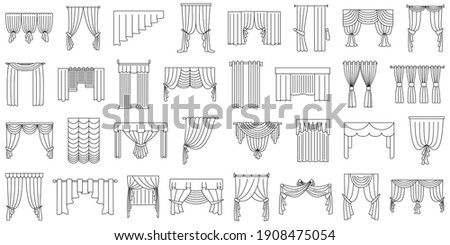 Curtains for window, doorway, theater stage. Set of vector icons in outline style isolated on white. Various curtain options for narrow and wide windows.