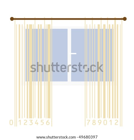 curtains stylized with bar-code stripes