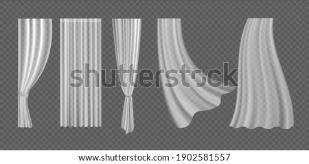 Curtains vector illustration set. 3d realistic fluttering curtains collection from white fabric silk cloth for window decoration, blowing hanging clear lightweight materials on transparent background