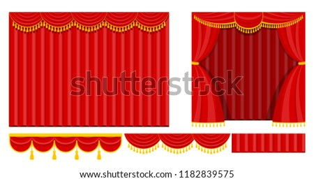 Curtains with lambrequins on the stage of the theater, concert hall. Decorations for the opening ceremony, at the premiere, awarding or other solemn official event