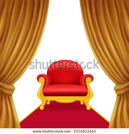 Curtains with royal armchair.