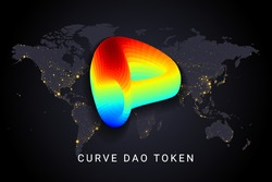 Curve dao token crypto currency digital payment system blockchain concept. Cryptocurrency isolated on earth night lights world map background. Vector illustration