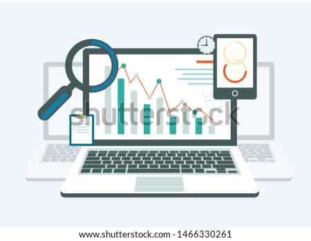 Curve Going into Decline on Laptop Monitor. Vector Illustration. Explore Workflow. Evaluate Professional Qualities. Management and Organization. Magnifying Glass and Clock. Financial Audit.