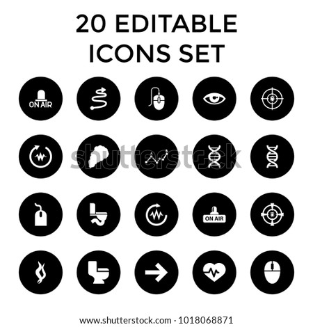 Curve icons. set of 20 editable filled curve icons such as mouse, toilet, heartbeat, open air, dna, forward, smoke, curved arrow. best quality curve elements in trendy style.