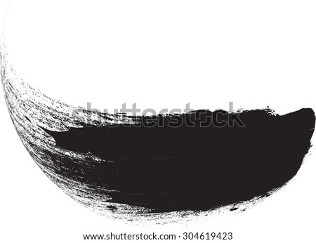 Curved Brush Stroke . Vector Logo Design Template . Twirl Grunge Shapes