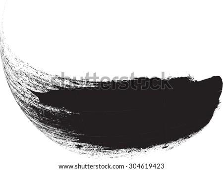 Curved Brush Stroke . Vector Logo Design Template . Twirl Grunge Shapes