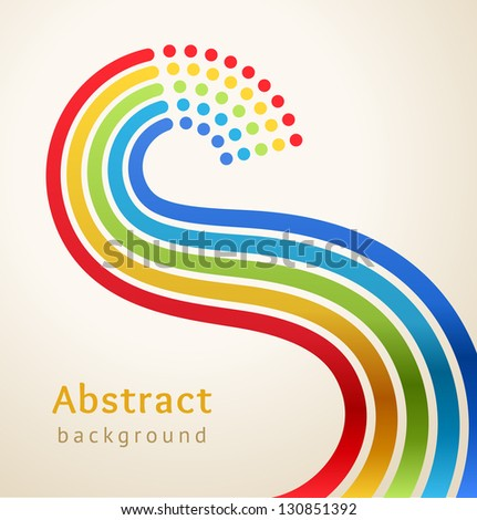 Curved colored stripes with circles, vector. Design template.