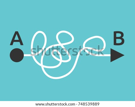 Curved complicated line with arrow tip from A to B on turquoise blue background. Solution, problem and complication concept. Flat design