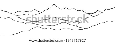 Curved lines, imitation of mountain ranges. Vector background, minimalism. Stock photo ©