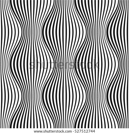 Curved optical illusion black and white stripes background