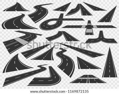 Curved road in perspective. Bending highways curves bend winding, transport rural bended asphalt town path and high curving turn roads vector illustration isolated icons set