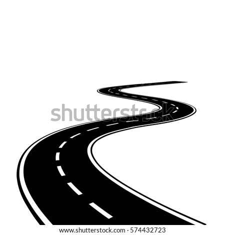curved road with white lines