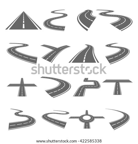 curved roads vector set