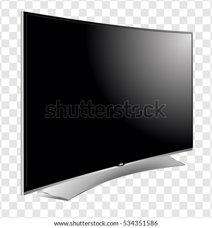 Curved TV screen lcd, plasma realistic vector illustration.