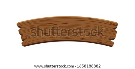 curved wooden planks isolated on white background, wood plank curve for signs and copy space, wooden signs curve shape, empty wood plank brown for message text, vector