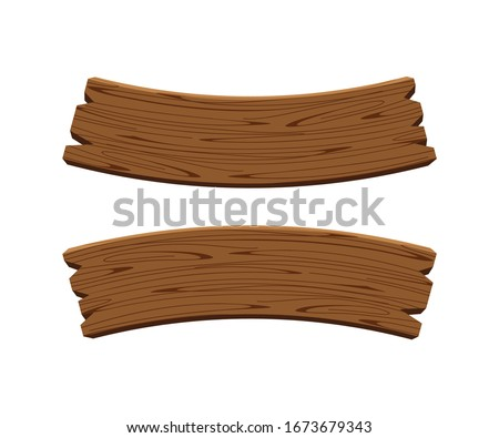 curved wooden planks isolated on white background, wood plank curve for signs and copy space, wooden signs curve shape, empty wood plank dark brown for message text, vector