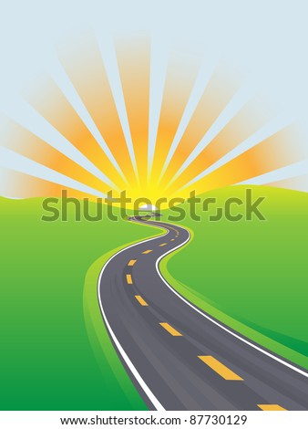 Curving highway to travel across a green land to a sunrise or sunset on the horizon