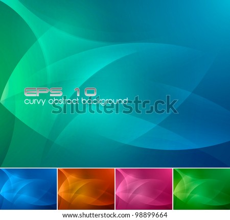 Curvy Abstract Background. A set of curvy abstract background, available in 4 different colors - stock vector