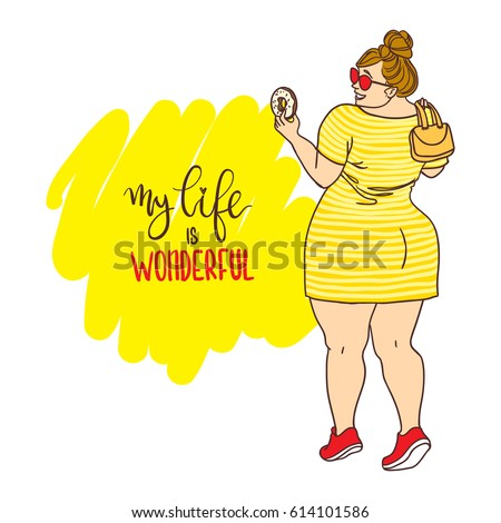 curvy cartoon girl with donut