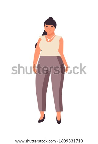 curvy dark haired woman flat