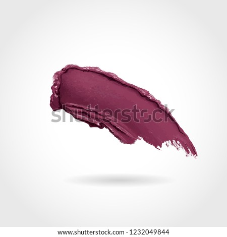 Curvy lipstick smear, smoothly smudged. Makeup sample, use for advertising flyer, banner, brochure and booklet. Vector make up beauty illustration