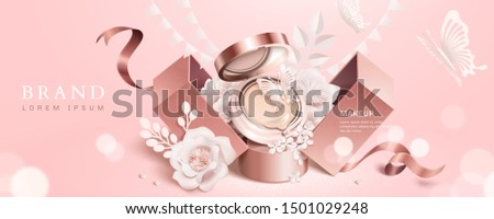 Cushion compact shows up from gift box with paper flowers on light pink background, cosmetic banner ads