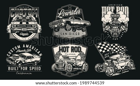 Custom american cars vintage monochrome labels with muscle and lowrider automobiles checkered race flag turbo engine skeleton in baseball cap driving hot rod isolated vector illustration