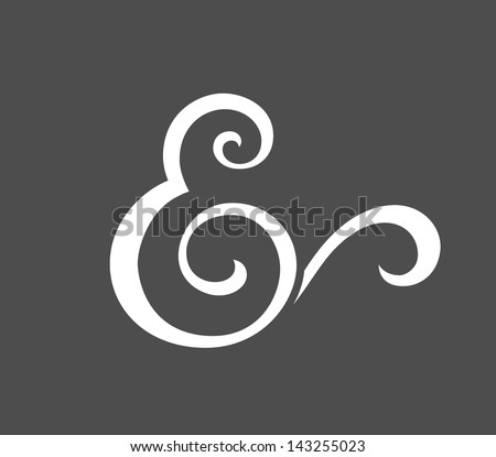Custom ampersand for wedding invitation. Vector illustration