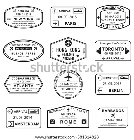 Custom and travel passport stamp set. International Airport visa stamps. Vector illustration.