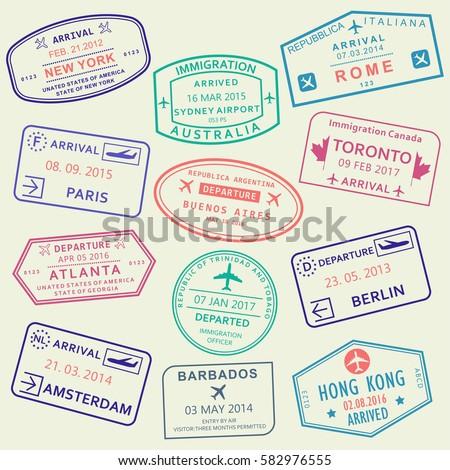 Custom and travel passport stamp set. International Airport visa stamps. Vector illustration.