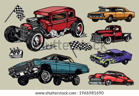custom cars colorful vintage