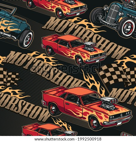 Custom cars motorshow colorful seamless pattern with inscriptions racing checkered flags powerful hot rod and muscle cars with flame decals vector illustration