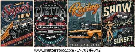 Custom cars vintage colorful posters with lowrider and muscle american cars attractive winking woman in mechanic uniform vector illustration