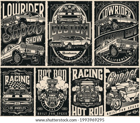 Custom cars vintage posters set in monochrome style with american lowrider and muscle cars skeleton in baseball cap driving hot rod racing checkered flag and turbo engine vector illustration