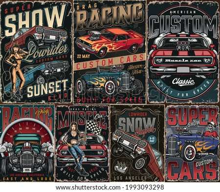 Custom cars vintage posters set with muscle lowrider hot rod cars big speedometer skeleton driving hotrod pretty winking woman and beautiful tattooed girl with racing flag vector illustration