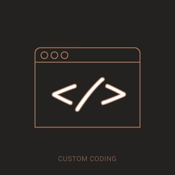 Custom coding symbol on brown background,clean vector