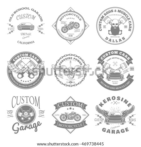 Custom Garage Label and Badges Design. Vector illustration