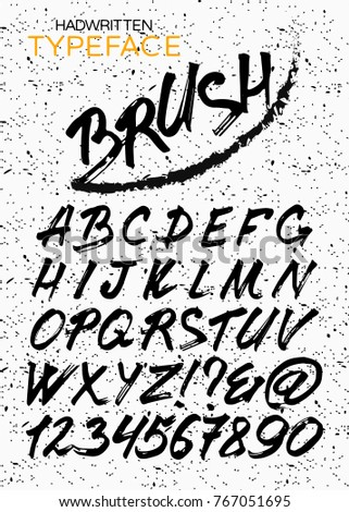 Custom handwritten alphabet. HandMade Typeface 'Brush'. Original Letters and Numbers. Vintage retro textured hand drawn type with grunge effect. Vector illustration