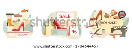 Custom made shoes shoemaker discount footwear shop high heels women pumps sale 3 flat compositions vector illustration  Foto stock ©