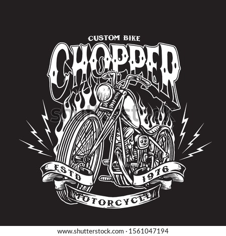 custom motorcycle chopper bike vector badge Stock photo ©