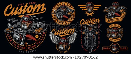 Custom motorcycle vintage prints with inscriptions angry bulldog biker wrenches ferocious dog head in motorcyclist helmet and eagle wings isolated vector illustration Stock photo ©