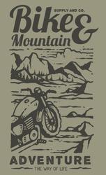 Custom scrambler vintage adventure motorcycle on the beautiful landscape of mountain vector illustration