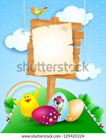 Custom signboard on Easter landscape, vector