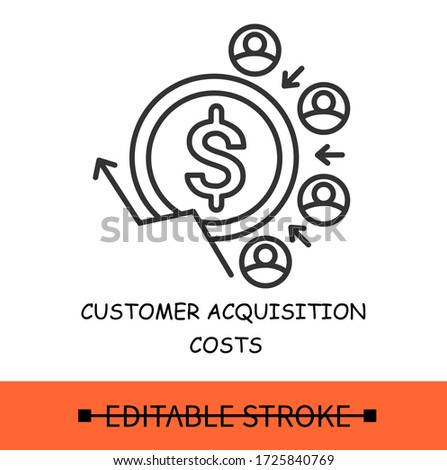 Customer acquisition costs line icon.Traffic customers.Positive and profitable stream of clients.Pay off strategy.Isolated linear vector business illustration.Editable stroke  Foto stock ©