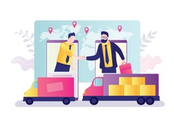 Customer and supplier shake hands on smartphone screens. Logistics, delivery of goods all over world. Globalization, modern technologies in sales, delivery and transportation. Flat vector illustration