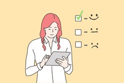 Customer assessment, business concept. Young happy smiling businesswoman cartoon character giving excellent rating for online survey on tablet. Marketing research and client experience illustration.