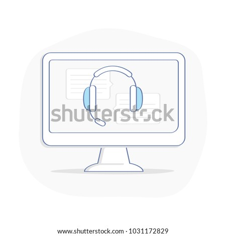 Customer assistant support headset, consultant headphone for calls on computer display. Technical online operator help line, help desk concept. Flat outline vector on white background.