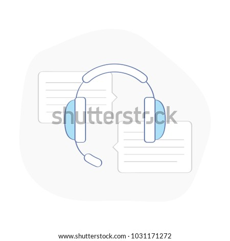 Customer assistant support headset, consultant headphone for calls. Technical online operator help line, help desk concept. Flat outline vector on white background.