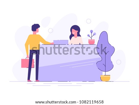 Customer at reception. Young woman receptionist standing at reception desk. Modern vector illustration.